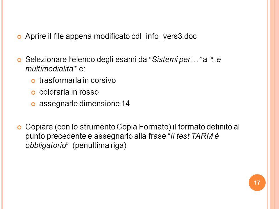 Aprire il file appena modificato cdl_info_vers3.doc
