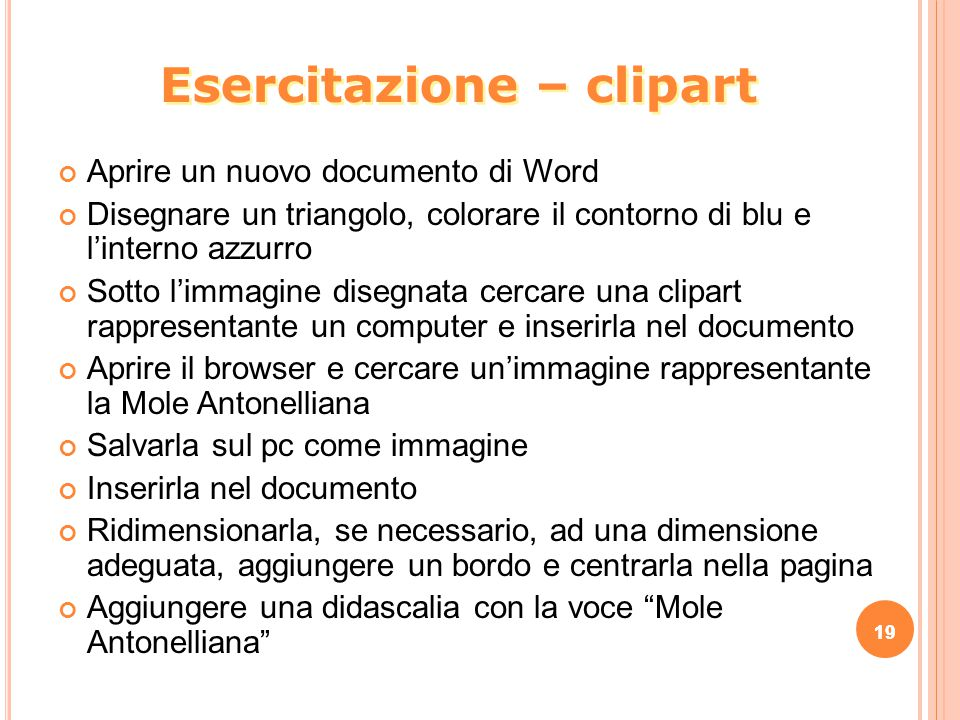 Esercitazione – clipart