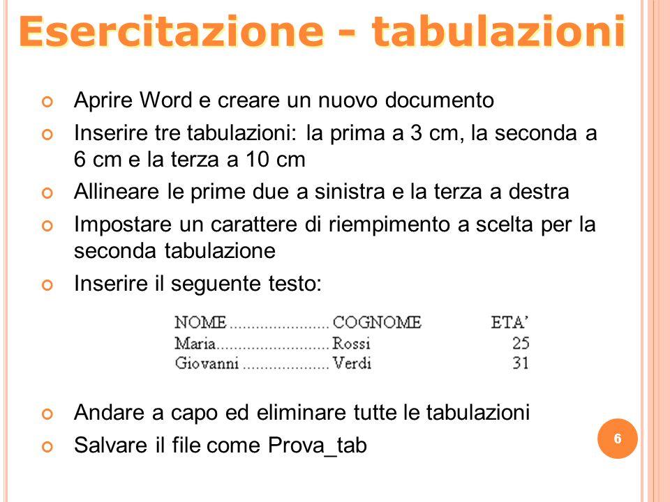 Esercitazione - tabulazioni
