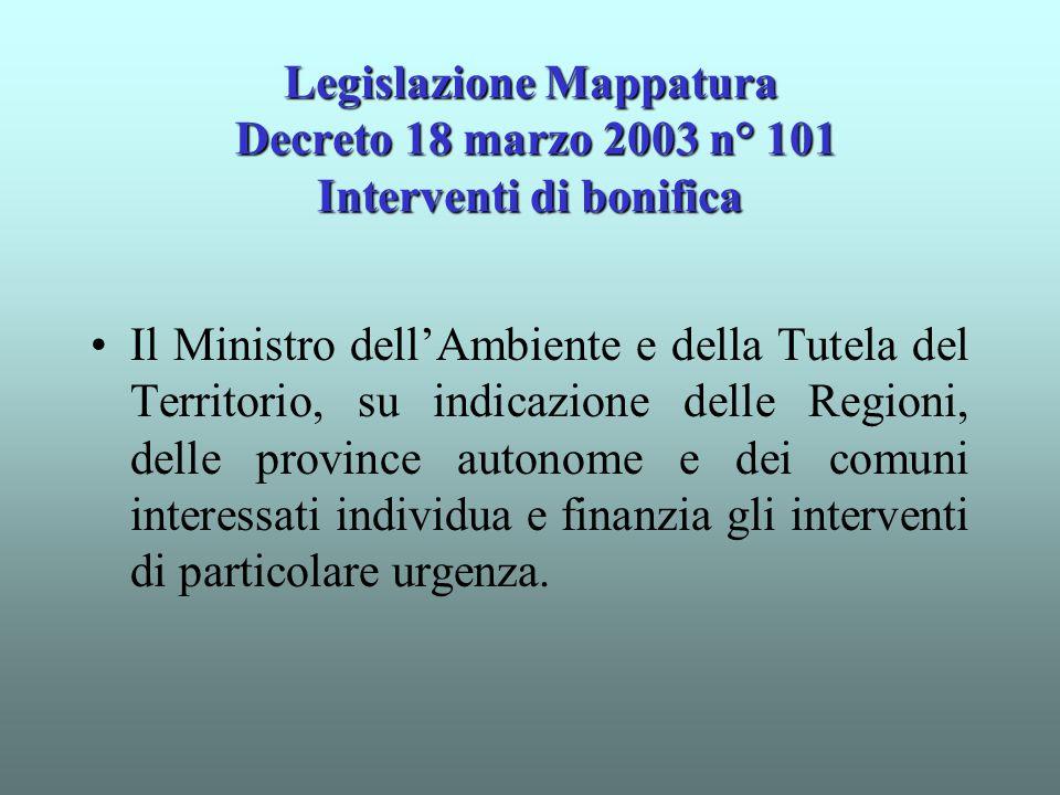 Legislazione Mappatura Decreto 18 marzo 2003 n° 101 Interventi di bonifica