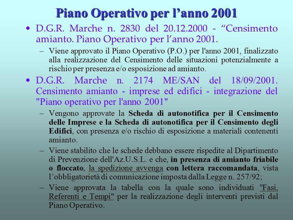 Piano Operativo per l'anno 2001