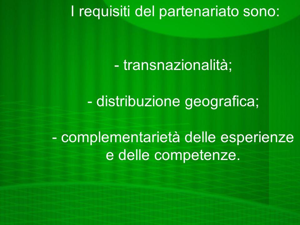 I requisiti del partenariato sono: - transnazionalità;