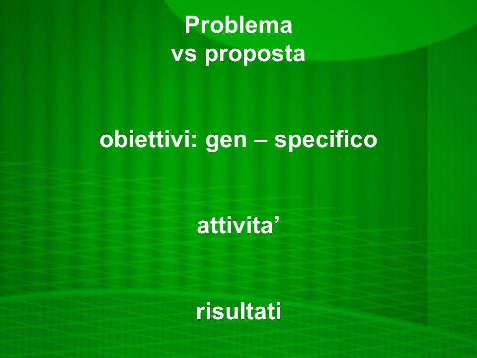 Problema vs proposta obiettivi: gen – specifico attivita' risultati