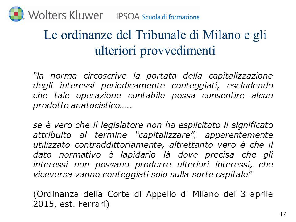 Le ordinanze del Tribunale di Milano e gli ulteriori provvedimenti