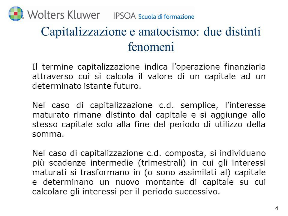 Capitalizzazione e anatocismo: due distinti fenomeni