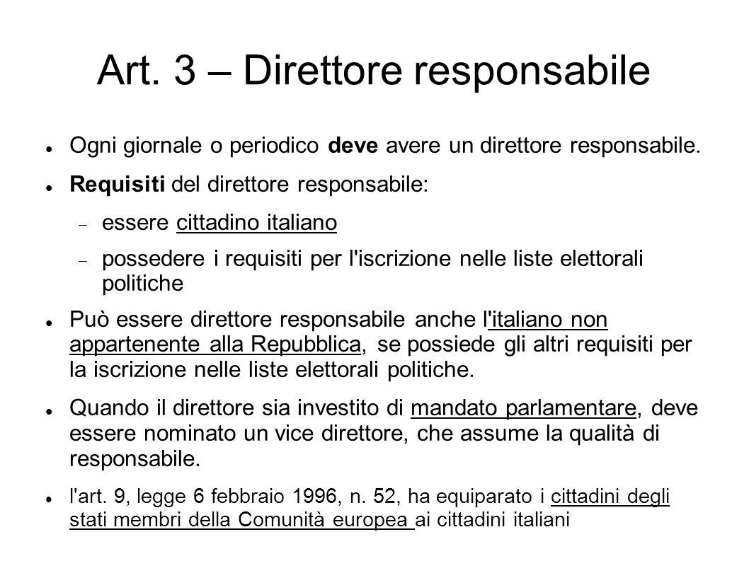 Art. 3 – Direttore responsabile
