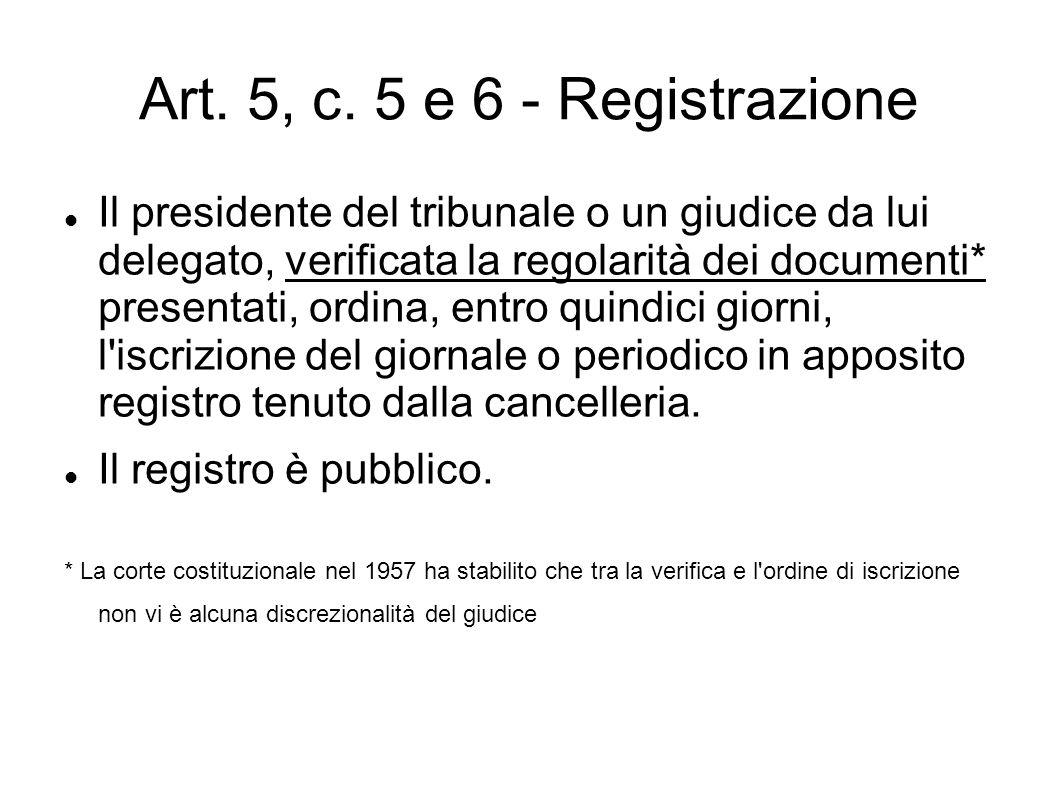 Art. 5, c. 5 e 6 - Registrazione