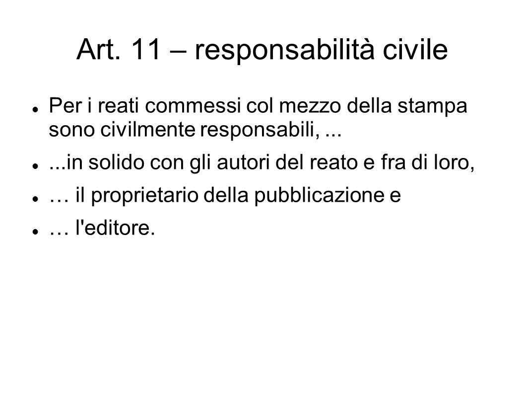 Art. 11 – responsabilità civile