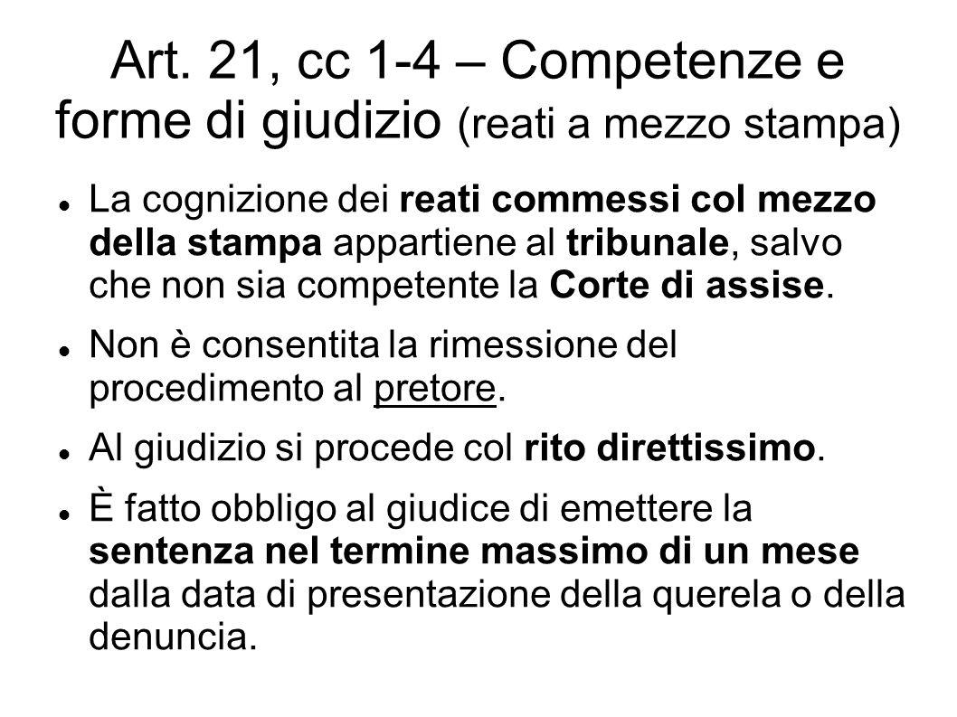 Art. 21, cc 1-4 – Competenze e forme di giudizio (reati a mezzo stampa)