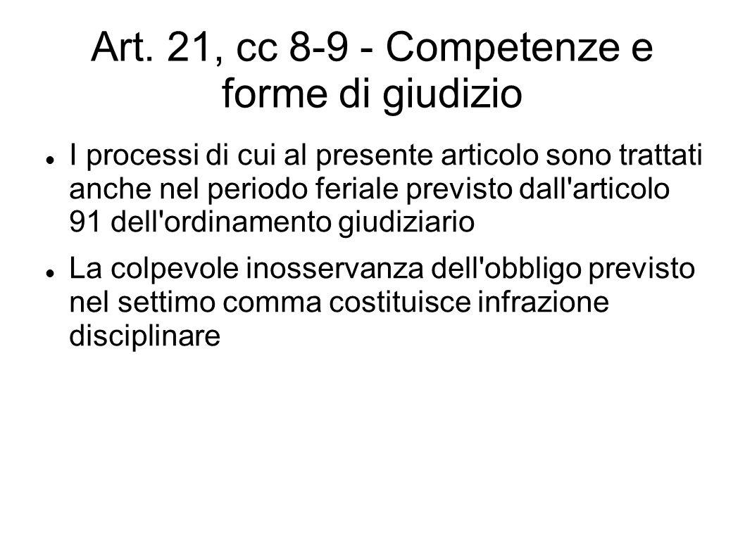 Art. 21, cc 8-9 - Competenze e forme di giudizio