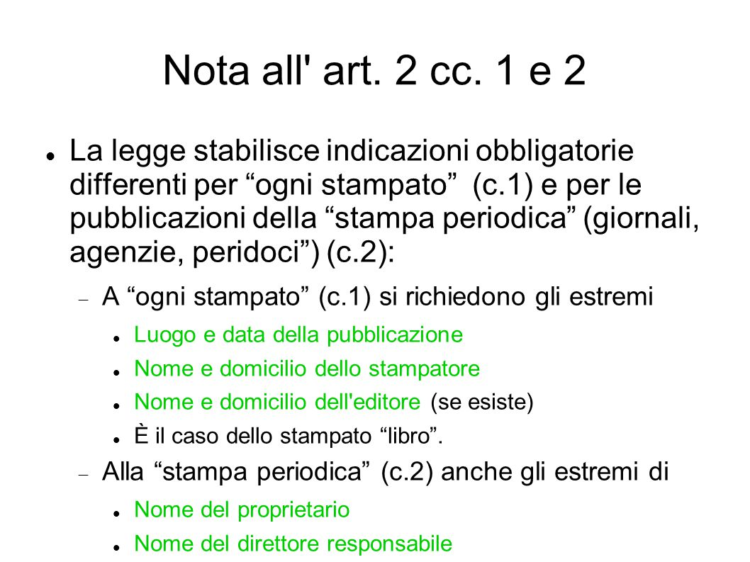 Nota all art. 2 cc. 1 e 2