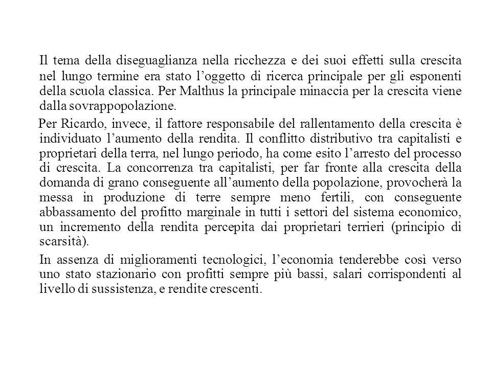 Il tema della diseguaglianza nella ricchezza e dei suoi effetti sulla crescita nel lungo termine era stato l'oggetto di ricerca principale per gli esponenti della scuola classica. Per Malthus la principale minaccia per la crescita viene dalla sovrappopolazione.