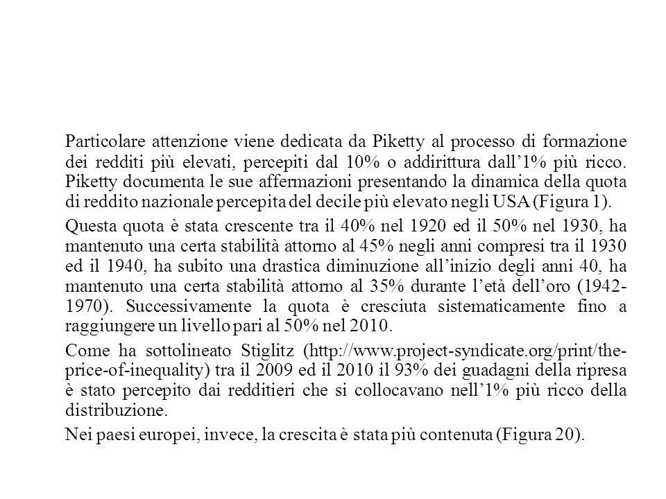 Particolare attenzione viene dedicata da Piketty al processo di formazione dei redditi più elevati, percepiti dal 10% o addirittura dall'1% più ricco. Piketty documenta le sue affermazioni presentando la dinamica della quota di reddito nazionale percepita del decile più elevato negli USA (Figura 1).