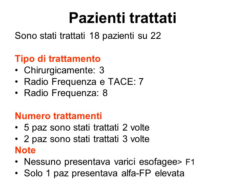 Pazienti trattati Sono stati trattati 18 pazienti su 22