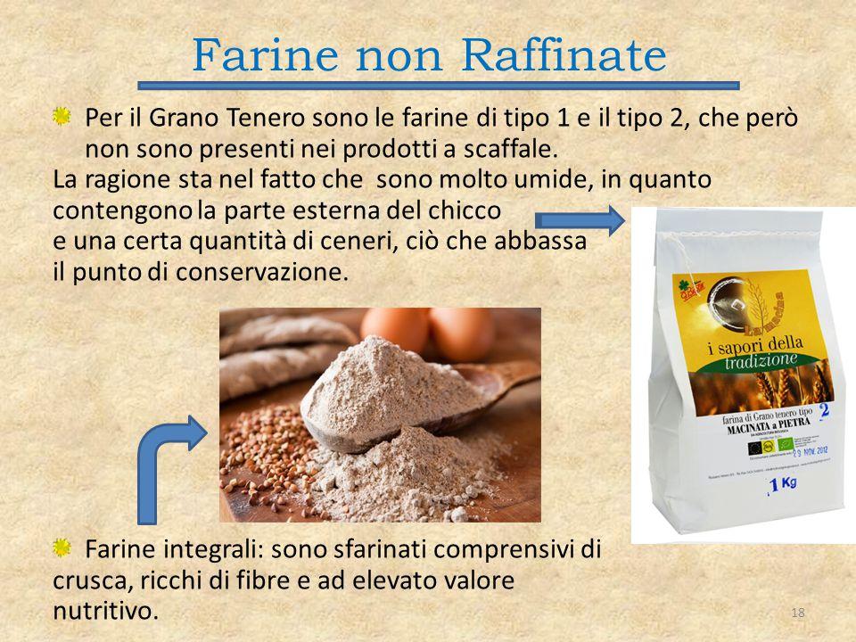 Farine non Raffinate Per il Grano Tenero sono le farine di tipo 1 e il tipo 2, che però non sono presenti nei prodotti a scaffale.