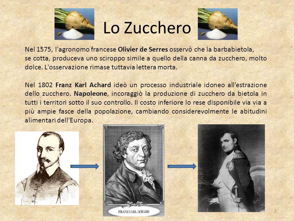 Lo Zucchero Nel 1575, l agronomo francese Olivier de Serres osservò che la barbabietola,