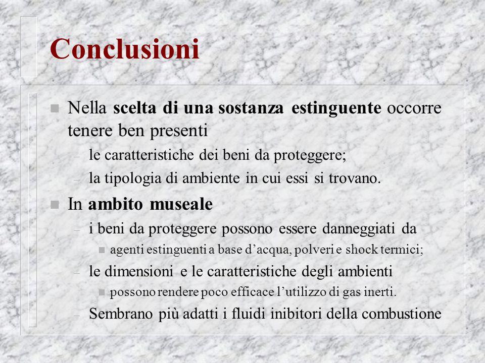 Conclusioni Nella scelta di una sostanza estinguente occorre tenere ben presenti. le caratteristiche dei beni da proteggere;