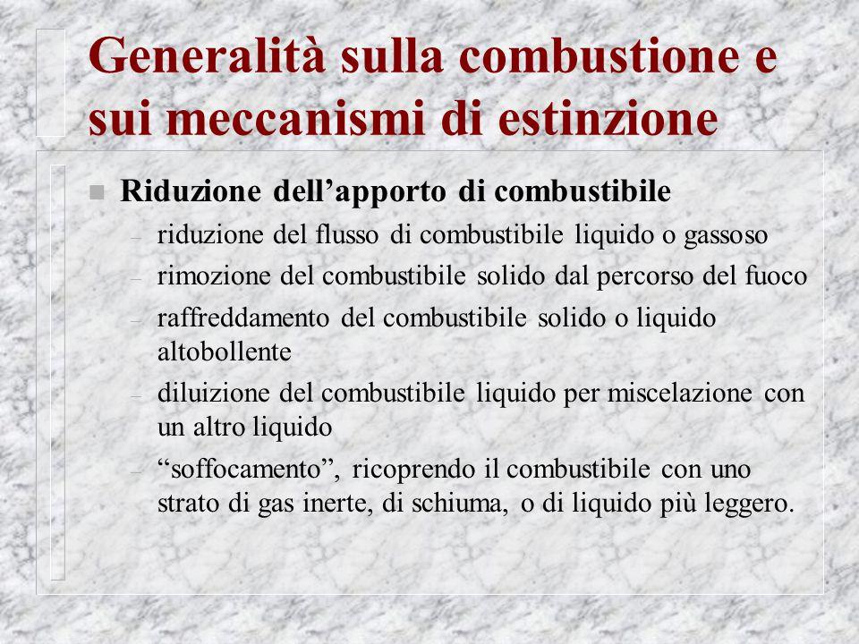 Generalità sulla combustione e sui meccanismi di estinzione