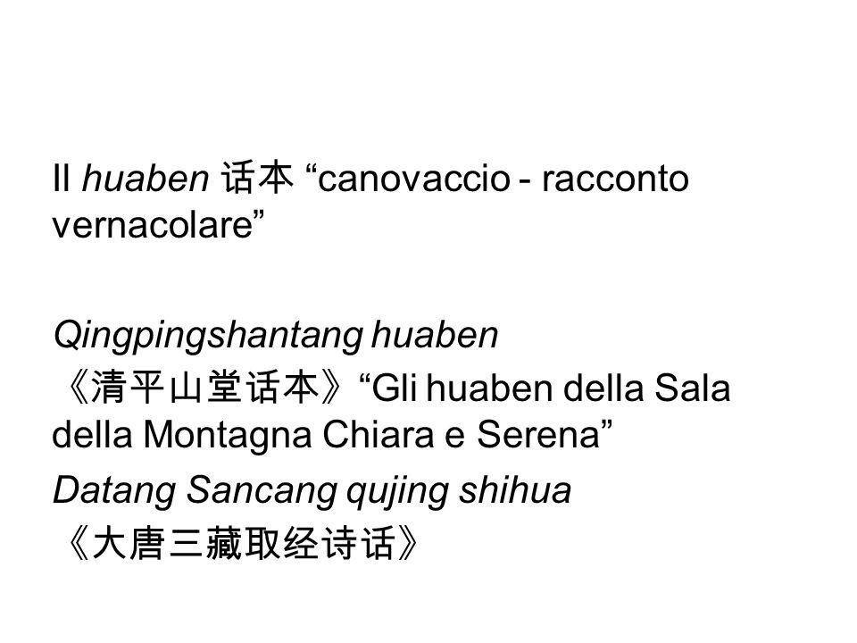 Il huaben 话本 canovaccio - racconto vernacolare Qingpingshantang huaben 《清平山堂话本》 Gli huaben della Sala della Montagna Chiara e Serena Datang Sancang qujing shihua 《大唐三藏取经诗话》