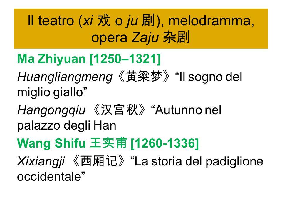 Il teatro (xi 戏 o ju 剧), melodramma, opera Zaju 杂剧