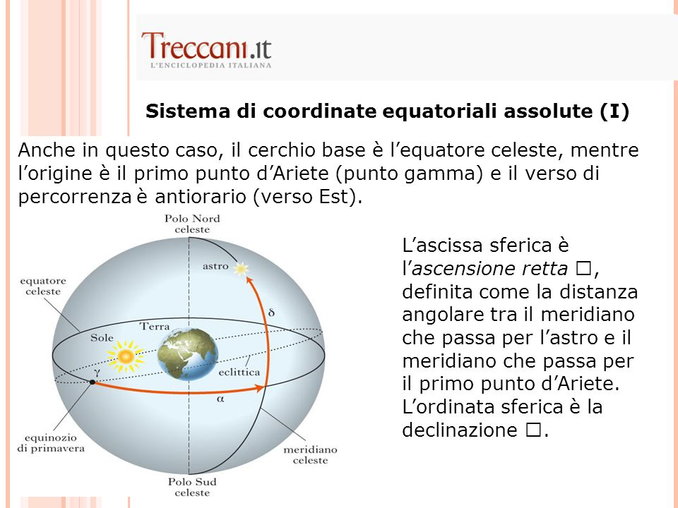 Sistema di coordinate equatoriali assolute (I)