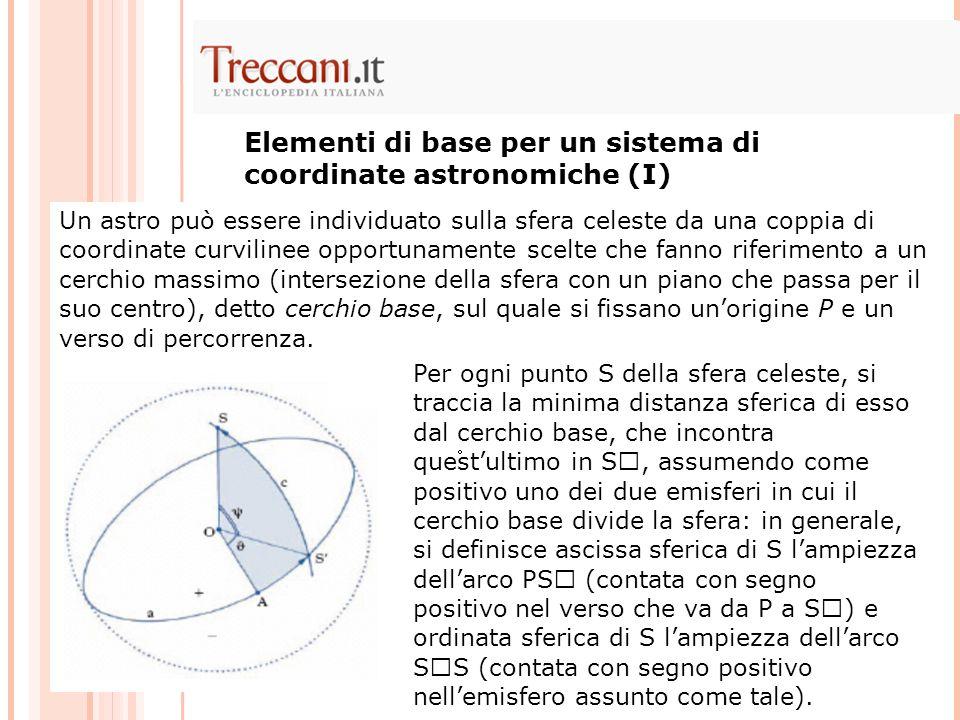 Elementi di base per un sistema di coordinate astronomiche (I)