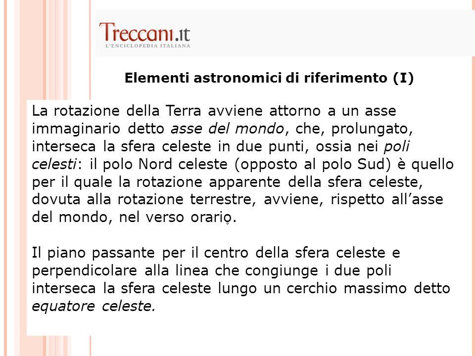 Elementi astronomici di riferimento (I)
