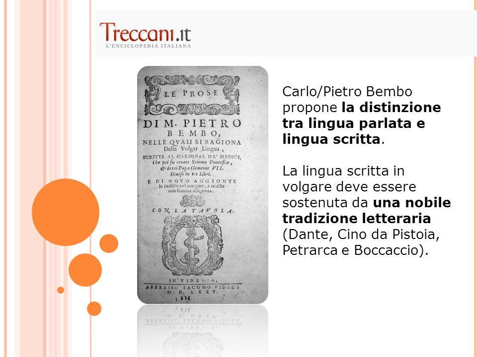 Carlo/Pietro Bembo propone la distinzione tra lingua parlata e lingua scritta.