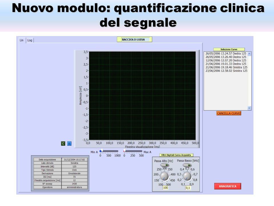 Nuovo modulo: quantificazione clinica