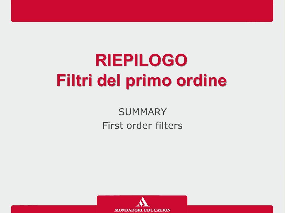 Filtri del primo ordine