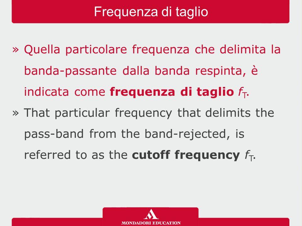 Frequenza di taglio Quella particolare frequenza che delimita la banda-passante dalla banda respinta, è indicata come frequenza di taglio fT.