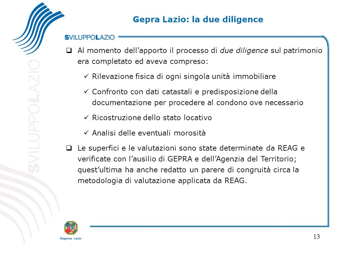 Gepra Lazio: la due diligence