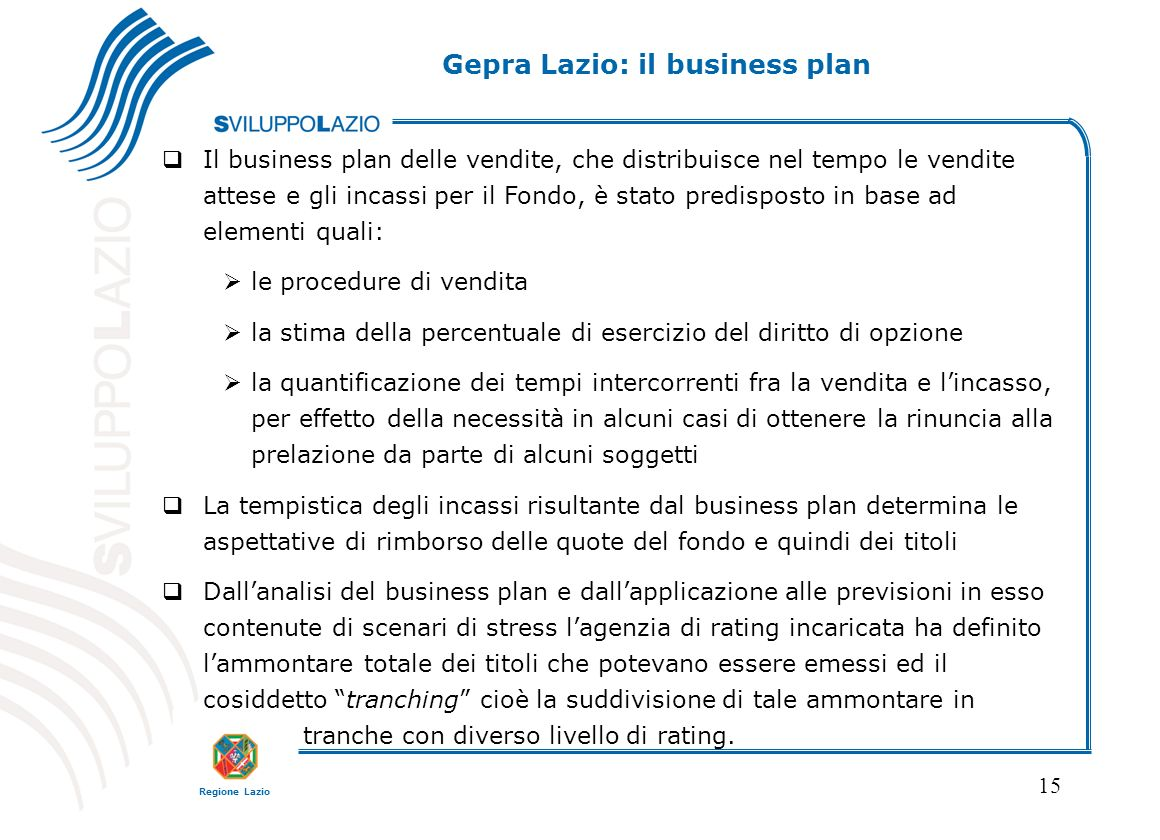 Gepra Lazio: il business plan