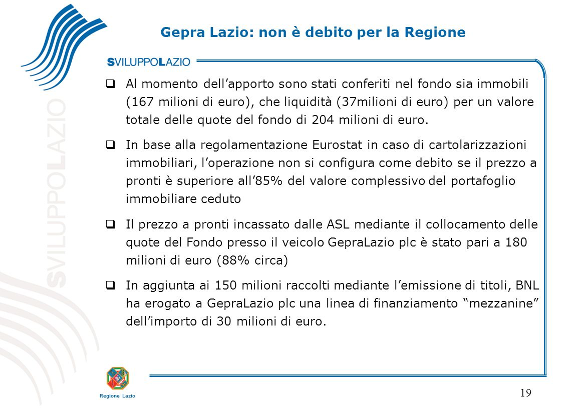Gepra Lazio: non è debito per la Regione