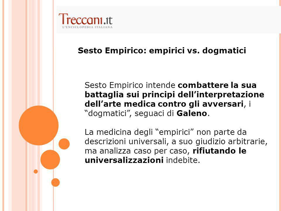 Sesto Empirico: empirici vs. dogmatici