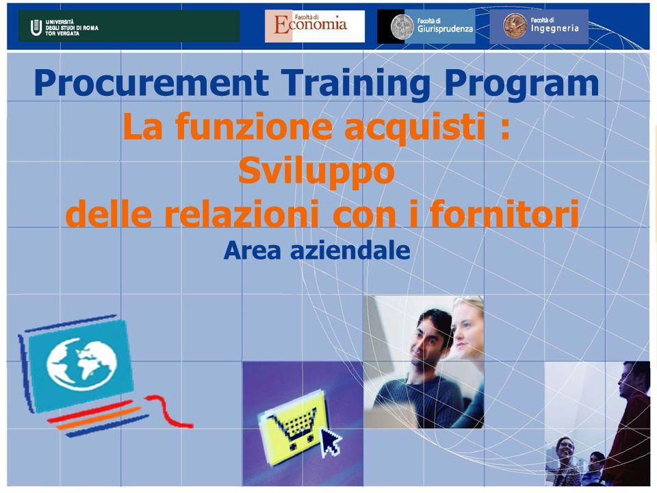Procurement Training Program delle relazioni con i fornitori