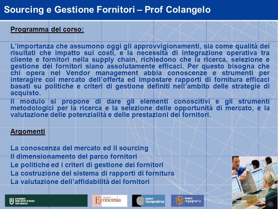 Sourcing e Gestione Fornitori – Prof Colangelo