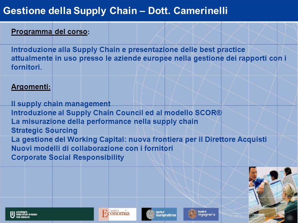 Gestione della Supply Chain – Dott. Camerinelli
