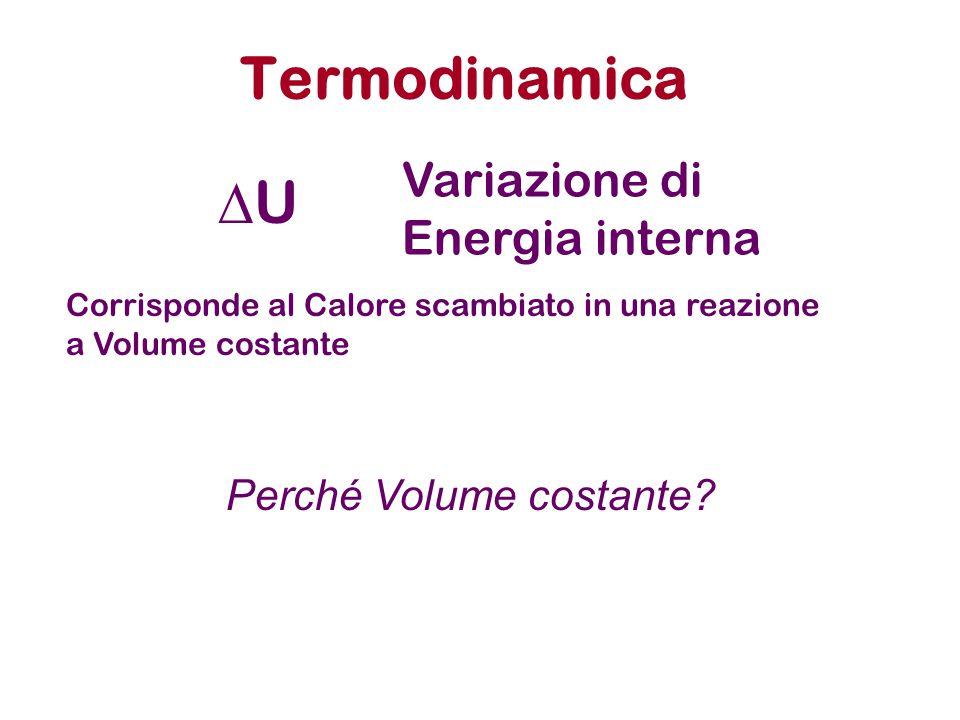 Termodinamica DU Variazione di Energia interna Perché Volume costante