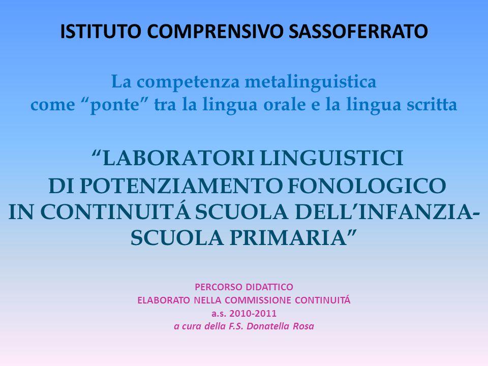 ISTITUTO COMPRENSIVO SASSOFERRATO La competenza metalinguistica come ponte tra la lingua orale e la lingua scritta LABORATORI LINGUISTICI DI POTENZIAMENTO FONOLOGICO IN CONTINUITÁ SCUOLA DELL'INFANZIA-SCUOLA PRIMARIA PERCORSO DIDATTICO ELABORATO NELLA COMMISSIONE CONTINUITÁ a.s.