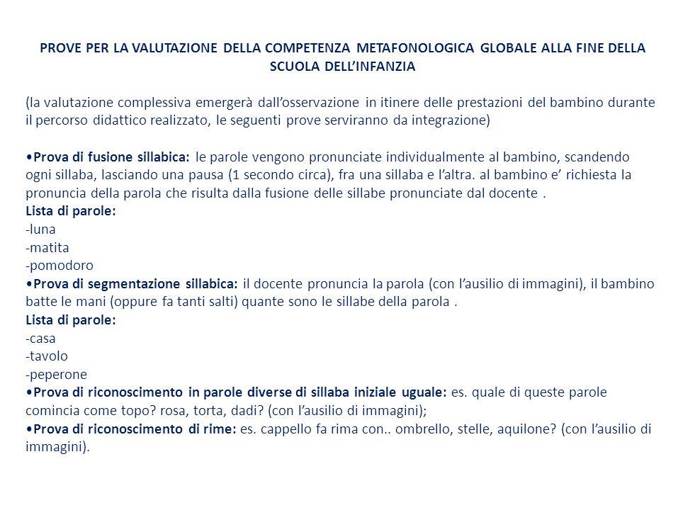 PROVE PER LA VALUTAZIONE DELLA COMPETENZA METAFONOLOGICA GLOBALE ALLA FINE DELLA SCUOLA DELL'INFANZIA