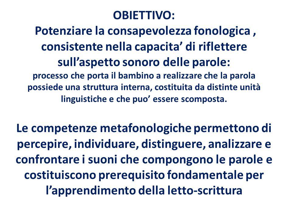 OBIETTIVO: Potenziare la consapevolezza fonologica , consistente nella capacita' di riflettere sull'aspetto sonoro delle parole: processo che porta il bambino a realizzare che la parola possiede una struttura interna, costituita da distinte unità linguistiche e che puo' essere scomposta.