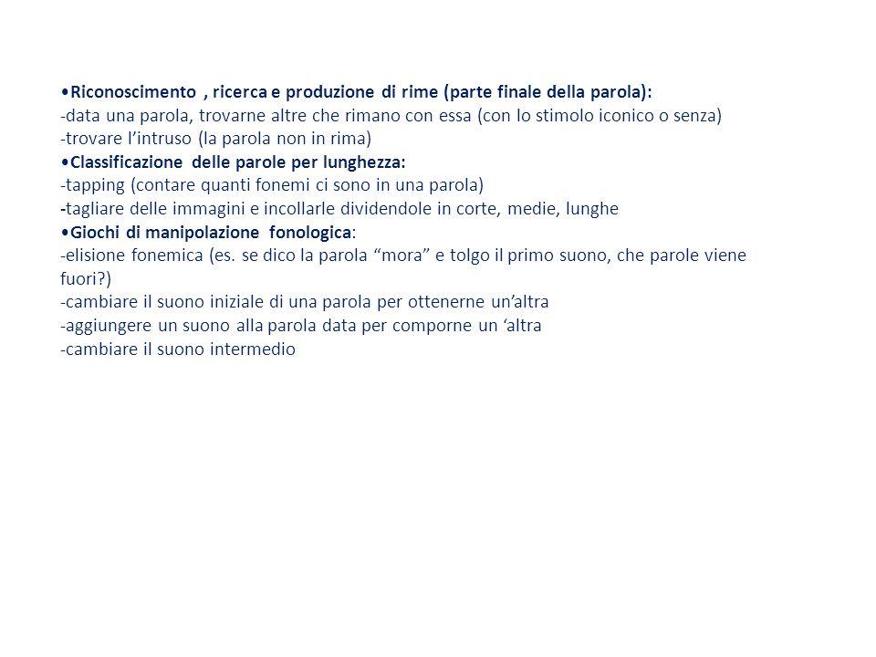 Riconoscimento , ricerca e produzione di rime (parte finale della parola):