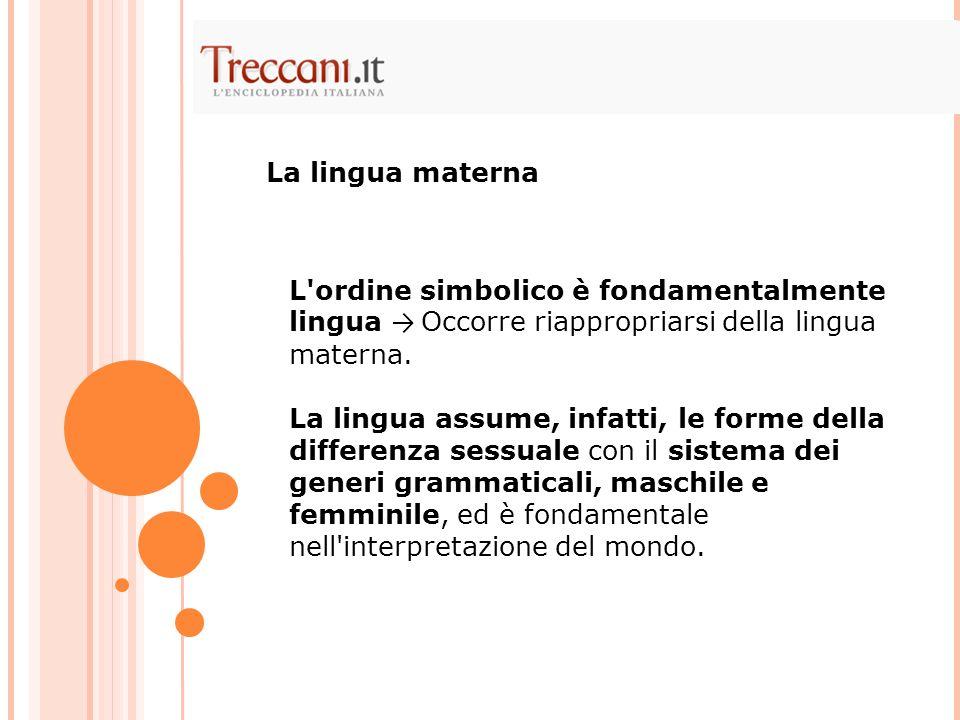 La lingua materna L ordine simbolico è fondamentalmente lingua → Occorre riappropriarsi della lingua materna.