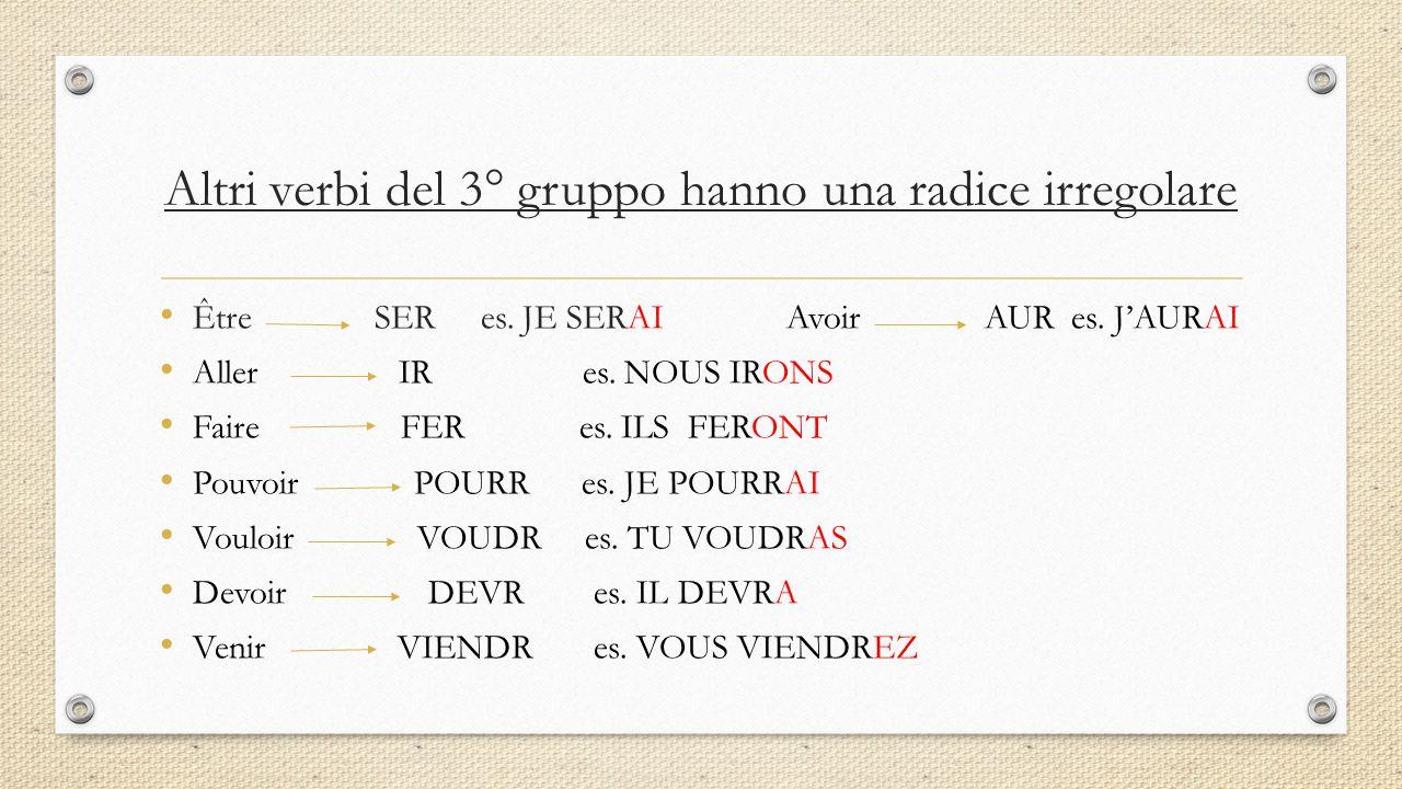 Altri verbi del 3° gruppo hanno una radice irregolare