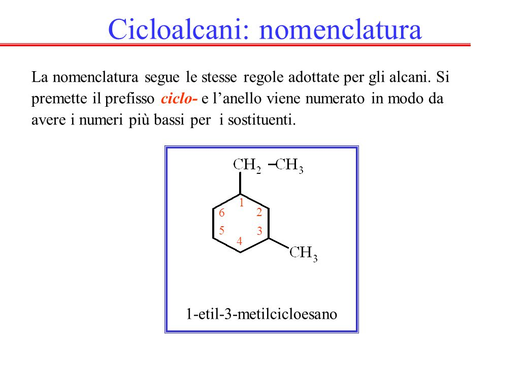 Cicloalcani: nomenclatura