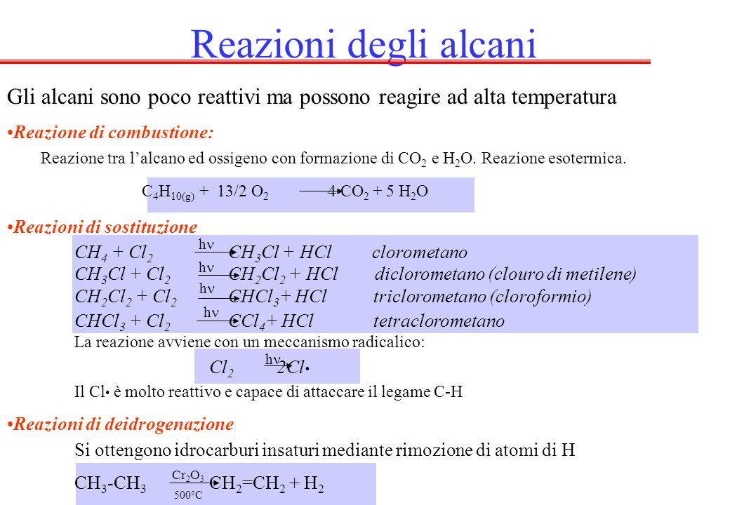 Reazioni degli alcani Gli alcani sono poco reattivi ma possono reagire ad alta temperatura. Reazione di combustione: