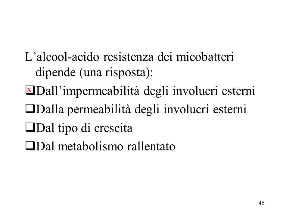 L'alcool-acido resistenza dei micobatteri dipende (una risposta):