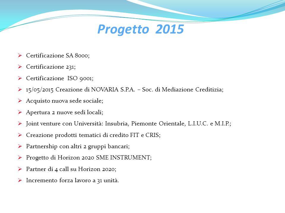 Progetto 2015 Certificazione SA 8000; Certificazione 231;