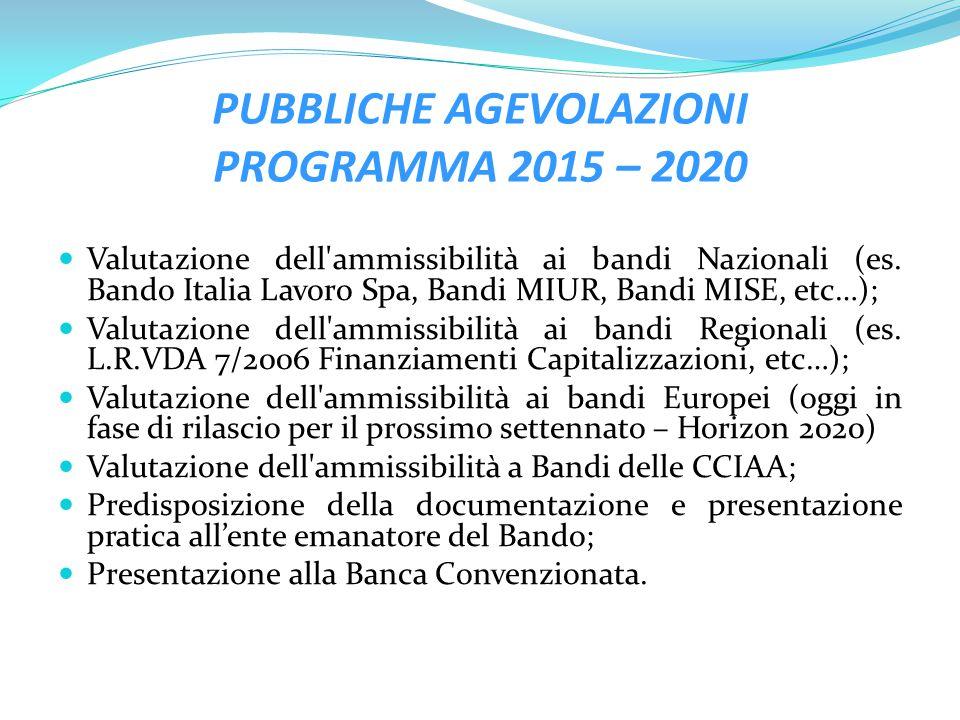 PUBBLICHE AGEVOLAZIONI PROGRAMMA 2015 – 2020
